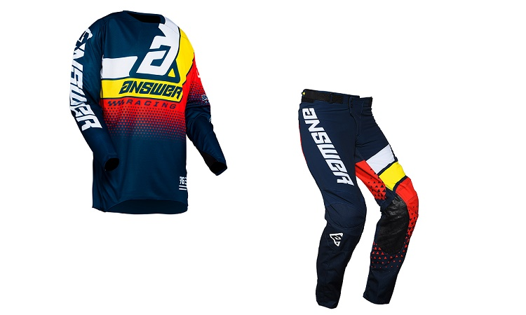 Traje Answer Elite Korza Azul Oscuro/Blanco/Amarillo/Rojo - Rendueles Motos